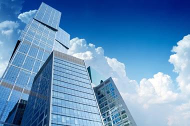 Silver in windows of skyscrapers