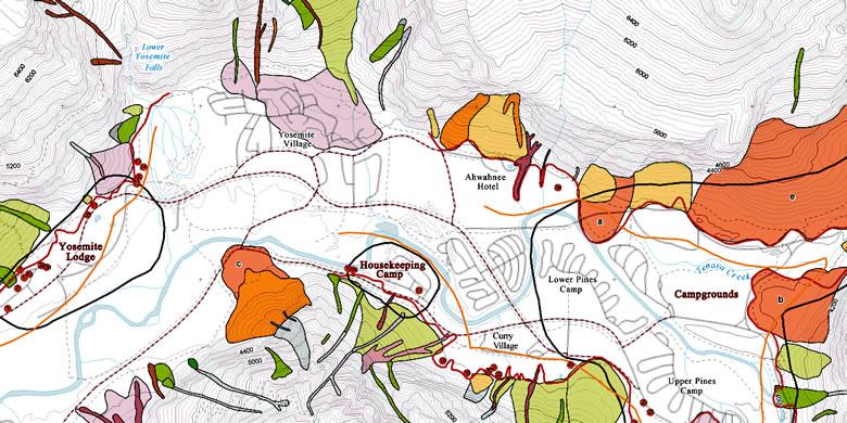 Yosemite rockfall hazards map