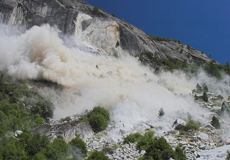 Debris avalanche knocking down trees