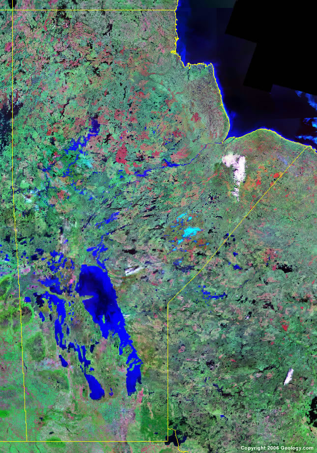 Manitoba Map Satellite Image Roads Lakes Rivers Cities - Road map of colombia 2006