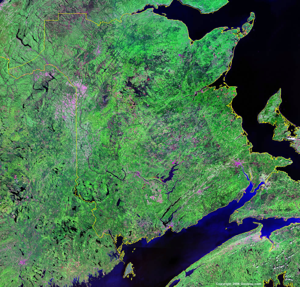 New Brunswick Map Satellite Image Roads Lakes Rivers Cities