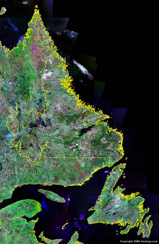 Newfoundland And Labrador Map Satellite Image Roads Lakes - Map of newfoundland