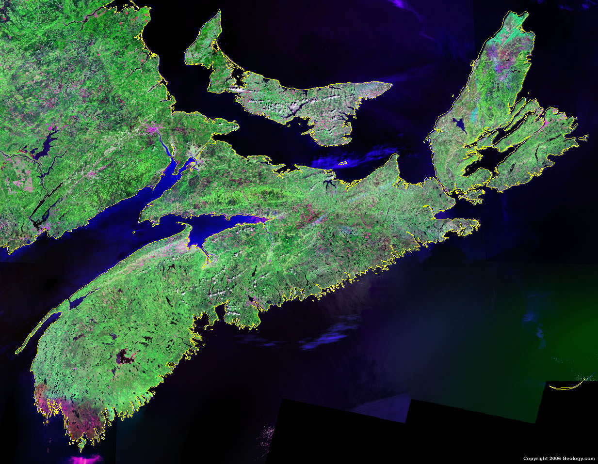 Nova Scotia Map Satellite Image Roads Lakes Rivers Cities
