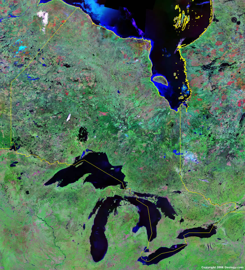 Ontario Map  Satellite Image  Roads Lakes Rivers Cities