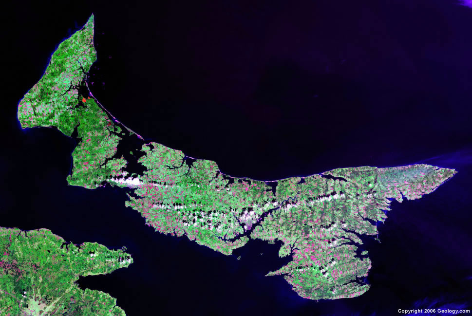 Prince Edward Island Map Satellite Image Roads Lakes Rivers