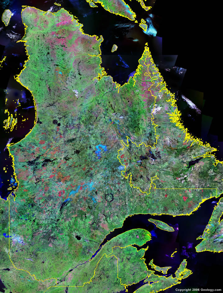 Quebec Map Satellite Image Roads Lakes Rivers Cities - Map of quebec canada