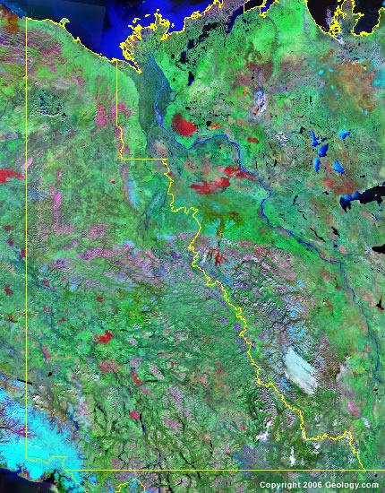 Yukon Territory satellite photo