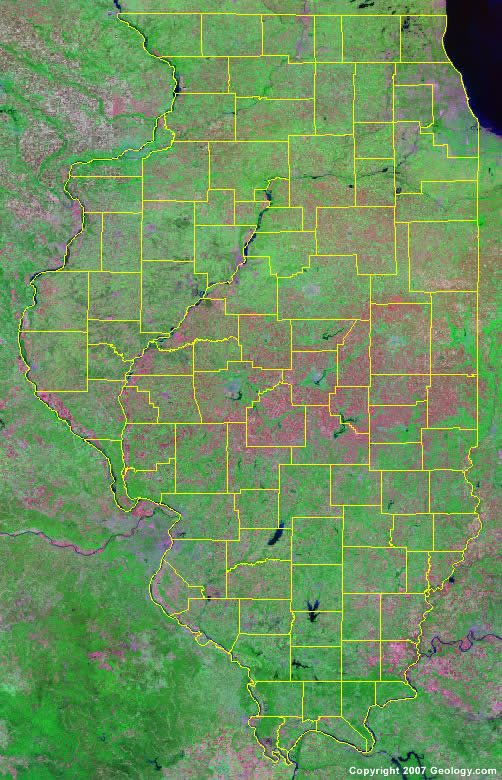 County Map - Illinois state map with towns
