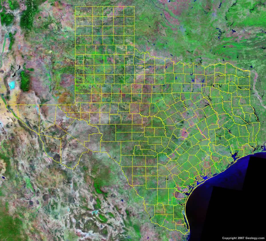 The map above is a Landsat satellite image of Texas with County ...