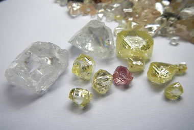 yellow and pink diamonds from Lucapa