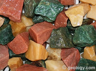 aventurine rough of various colors