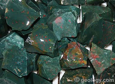 Bloodstone: A dark green gem with bright red splatters