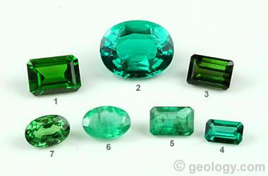 green gemstones including emerald and synthetic emerald