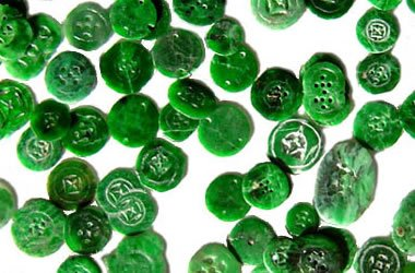 Green jadeite buttons
