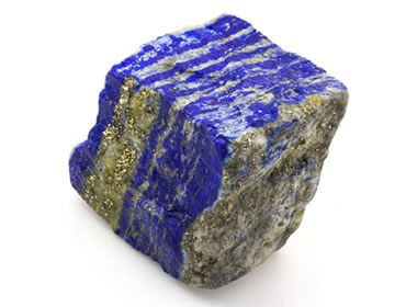 Banded lapis with calcite and pyrite