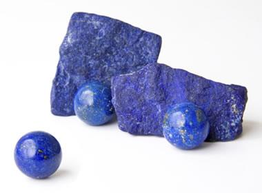 Lapis lazuli spheres and rough