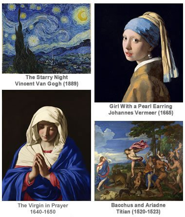 paintings done with ultramarine blue pigment