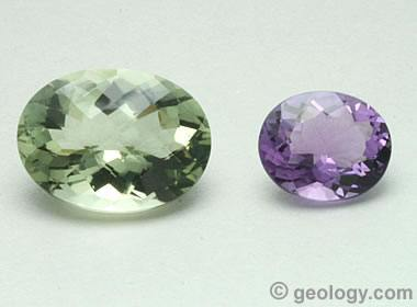 Prasioite and amethyst