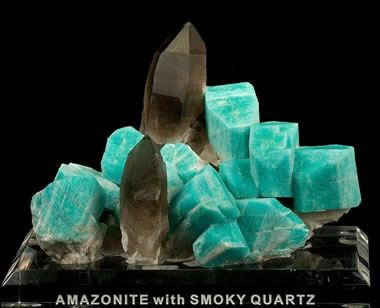 smoky quartz and amazonite crystal cluster