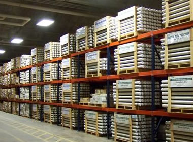 view of a warehouse where rock cores collected by drilling wells are stored in tubes and boxes