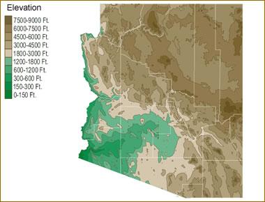 Map of Arizona Lakes, Streams and Rivers