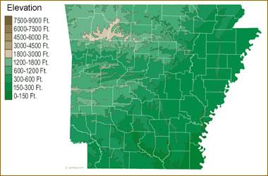 Map of Arkansas Lakes, Streams and Rivers