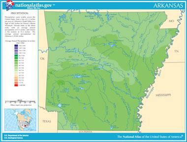 Map Of Arkansas Lakes Streams And Rivers - Arkansas physical map