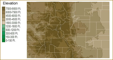 denver colorado elevation map Map Of Colorado Lakes Streams And Rivers denver colorado elevation map