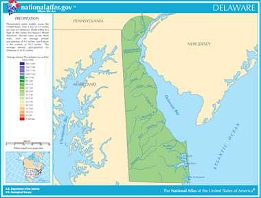 Map Of Delaware Lakes Streams And Rivers - Delaware river on us map
