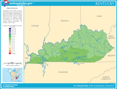 Map Of Kentucky Lakes Streams And Rivers - United states map with rivers lakes and mountains