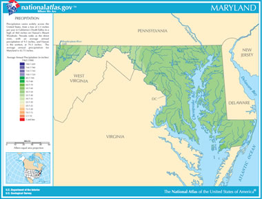 Map Of Maryland Lakes Streams And Rivers - Map of usa rivers