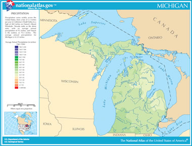 Michigan Lakes Map Map of Michigan Lakes, Streams and Rivers