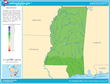 Map of Mississippi Lakes, Streams and Rivers