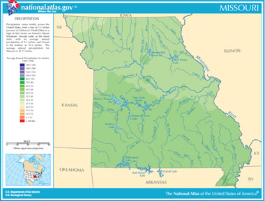 Map of missouri lakes streams and rivers missouri precipitation map sciox Images