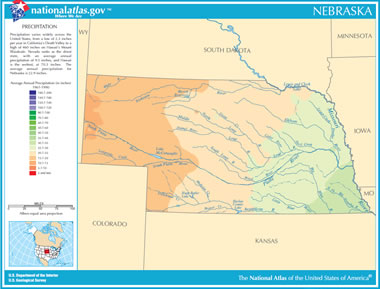 Map Of Nebraska Lakes Streams And Rivers - Rivers and mountains of the world