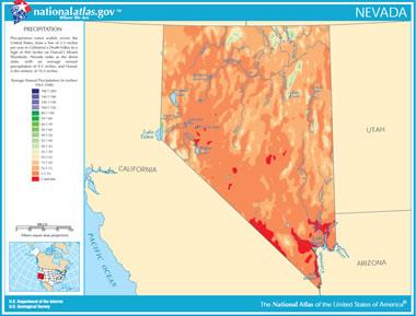 Map of Nevada Lakes, Streams and Rivers