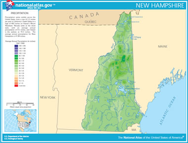 Map of New Hampshire Lakes Streams and Rivers