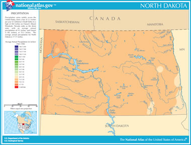 North Dakota Lakes Map Map of North Dakota Lakes, Streams and Rivers