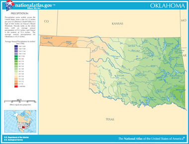 Map Of Oklahoma Lakes Streams And Rivers - Oklahoma map of lakes