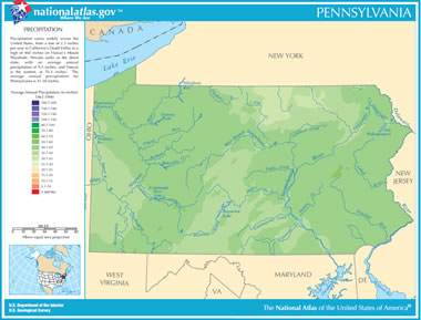 Map of Pennsylvania Lakes, Streams and Rivers