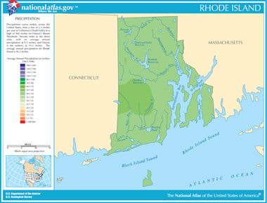 Map of Rhode Island Lakes, Streams and Rivers