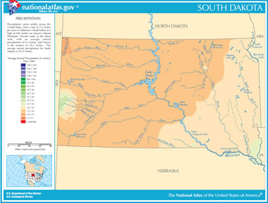 Map of South Dakota Lakes Streams and Rivers