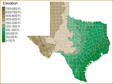 Water Elevation Map.Map Of Texas Lakes Streams And Rivers