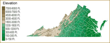 Topography Map Of Virginia.Map Of Virginia Lakes Streams And Rivers