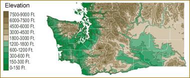 Spokane Elevation Map.Map Of Washington Lakes Streams And Rivers