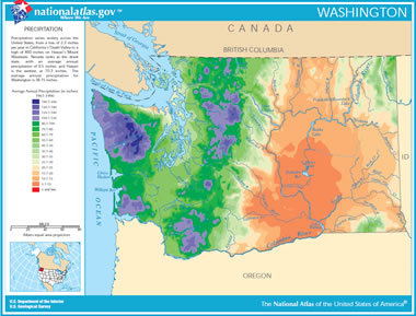 Map of washington lakes streams and rivers washington precipitation map sciox Choice Image