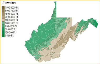 Map of West Virginia Lakes, Streams and Rivers