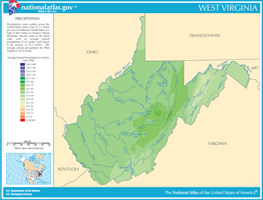Map of West Virginia Lakes Streams and Rivers