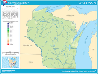 Map of Wisconsin Lakes, Streams and Rivers