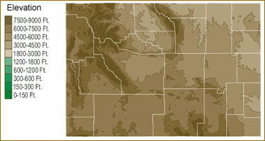 Map Of Wyoming Lakes Streams And Rivers - Elevation map of colorado